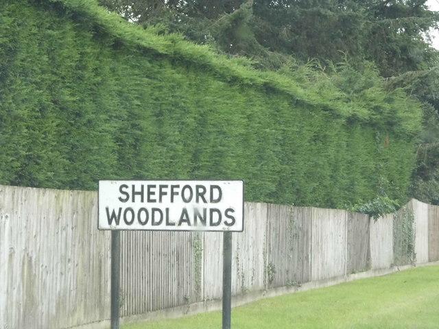 Old sign entering Shefford Woodlands