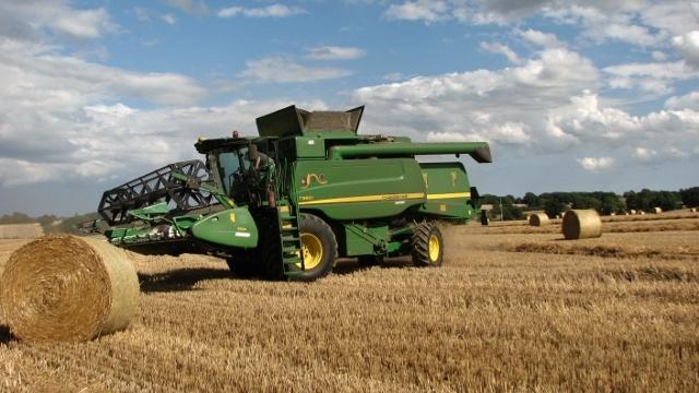 A John Deere combine harvester