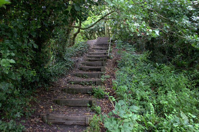 Steps on old railway path