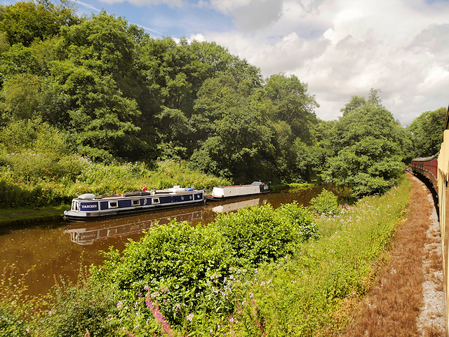 Narrowboats on the Caldon Canal/River Churnet