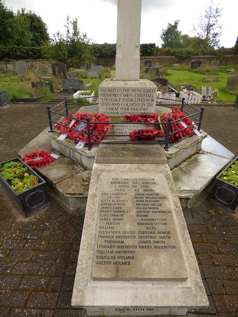 Birstall parish churchyard (5) - war memorial tablets