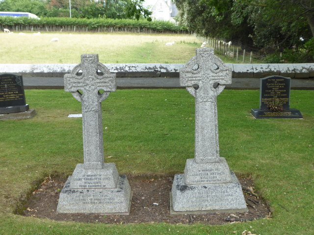 The graves of sisters Mary Charlotte Lucy Williams and Arabella Antonia Williams in the churchyard of St Margaret's, Bodelwyddan