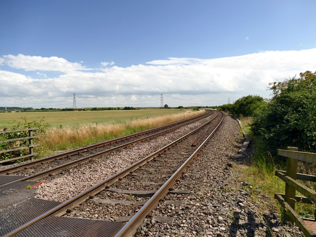 The Doncaster - Lincoln railway at Saundby level crossing