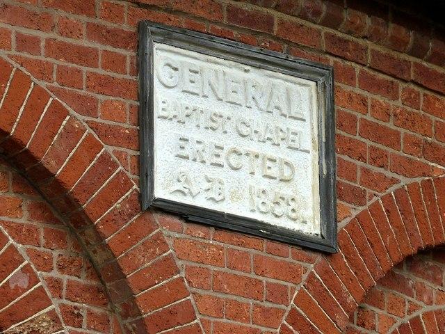 Baptist Chapel, Queen's Drive, Ilkeston, datestone