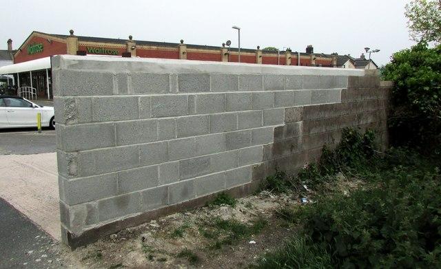 New piece of wall, Waitrose