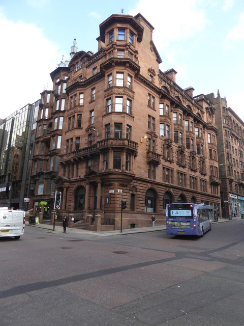 Victorian architecture on the corner of St Vincent Place and Hope Street