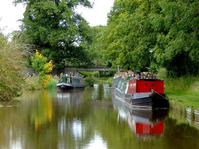 Narrowboats near Wrenbury Heath in Cheshire