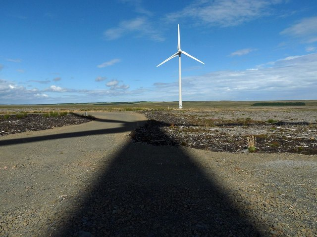 Wind turbine shadow, Stroupster Wind Farm, Caithness