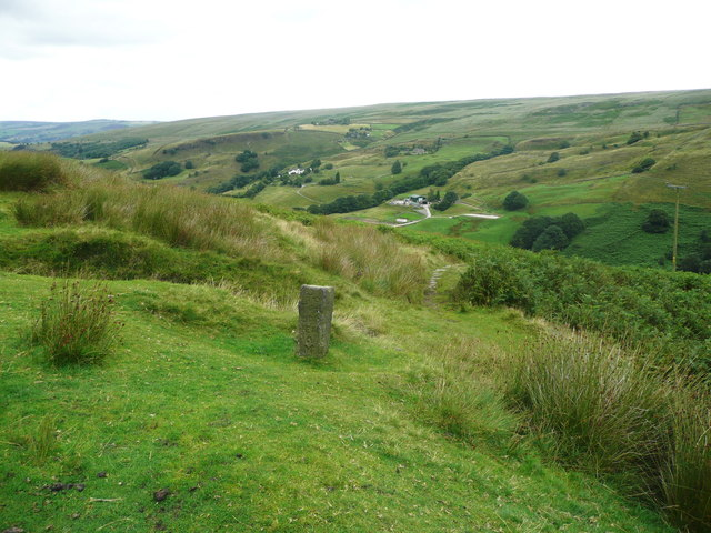 Guide stone at the top of Moorhey Bank Bridleway, Walsden