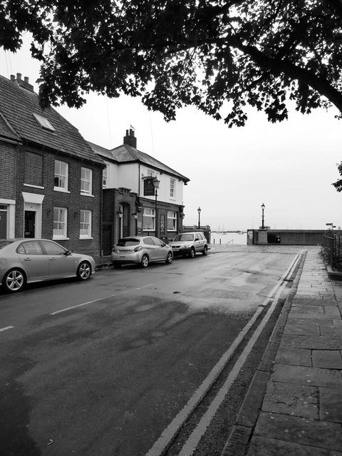 Queenborough: the seaward end of the High Street - and the Old House at Home