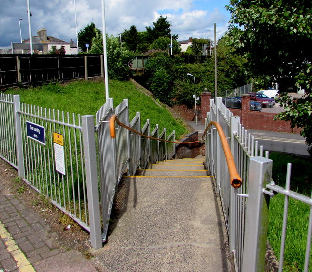 Steps down from Honiton railway station