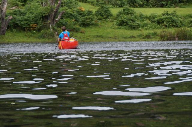 Canoe on the River Beauly at Knocknashalavaig