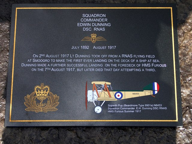 The new Memorial to Squadron Commander Edwin Dunning