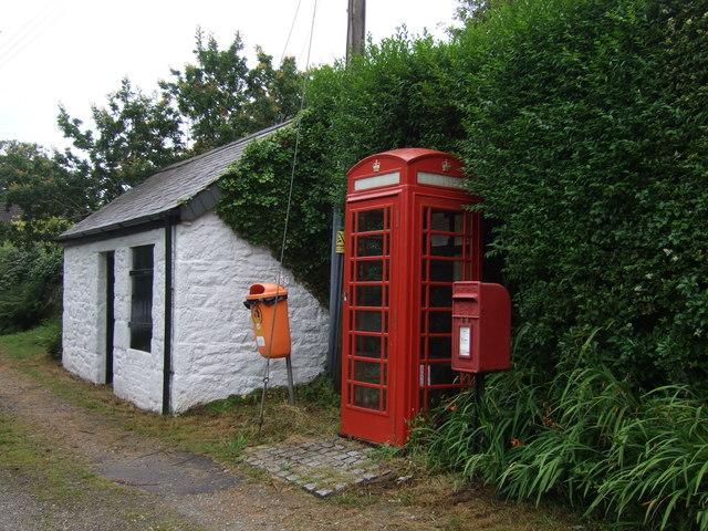 Elizabeth II postbox and telephone box, Godolphin Cross