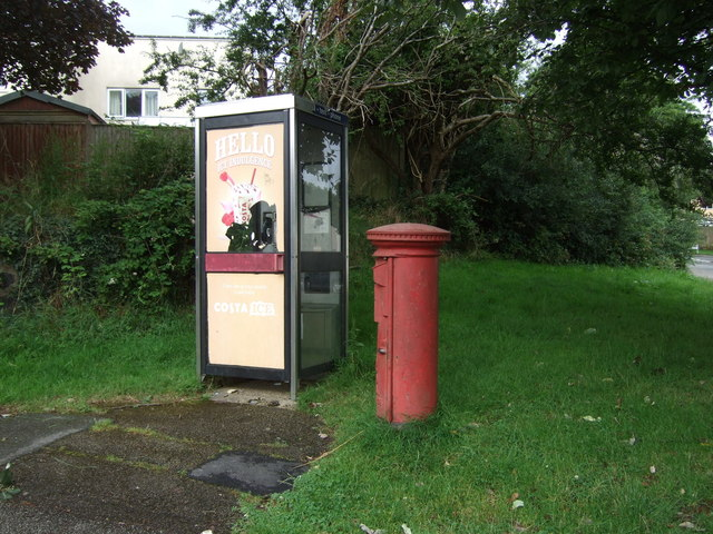 Elizabeth II postbox and telephone box on Bulwark Road, Helston