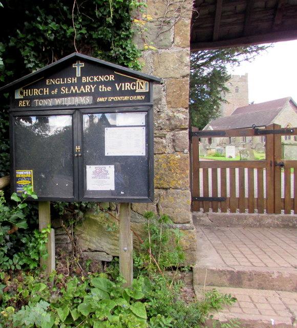 Village church information board, English Bicknor