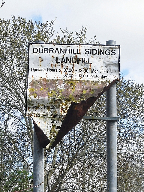 Old sign, Durranhill Sidings Landfill
