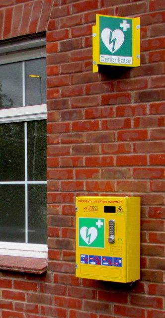 Yellow box on the village hall wall, Ashchurch