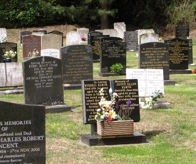 Gravestones in Poringland cemetery