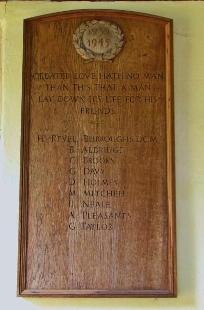All Saints church, Poringland - WW2 memorial tablet