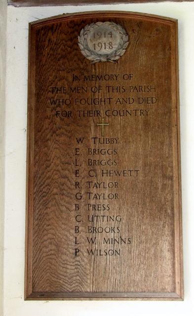 All Saints church, Poringland - WW1 memorial tablet