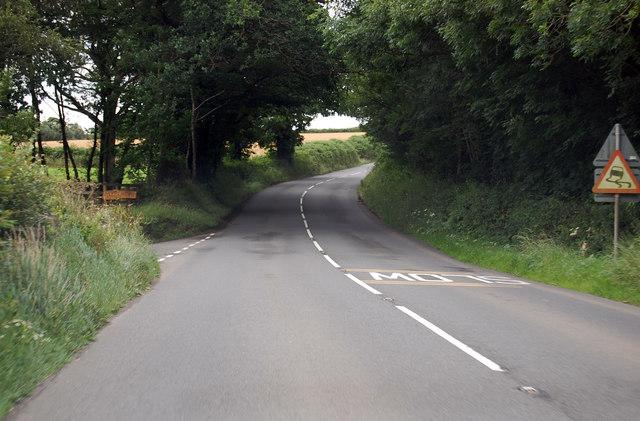 A3124 near entrance to Powlesland Lane