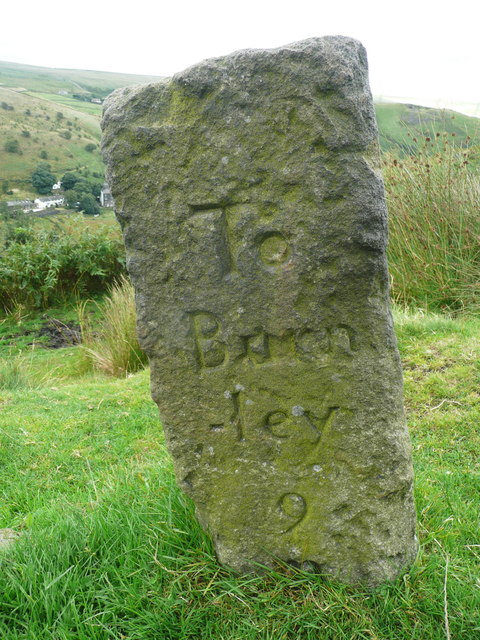 Guide stone at Reddyshore Scout Gate, Walsden - Burnley face