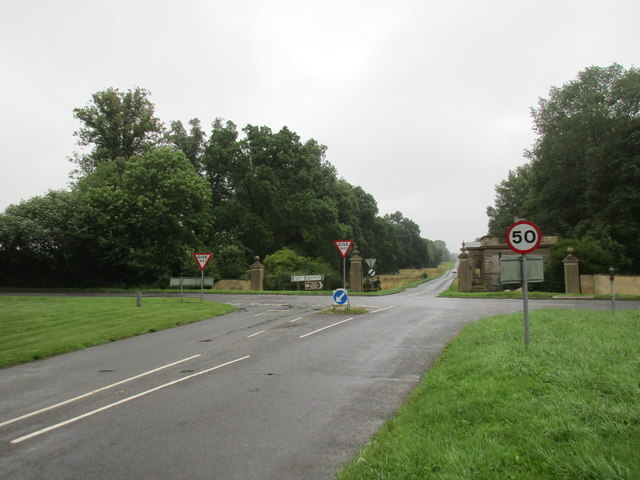 Crossroads at the end of an avenue from Stowe