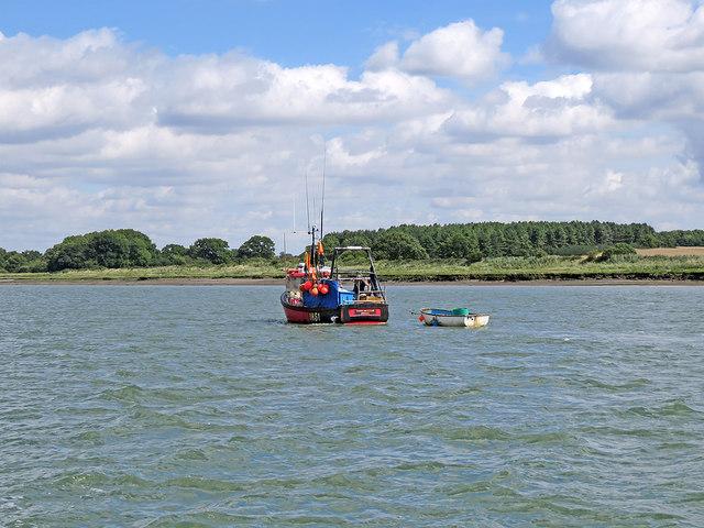 A returning fishing boat on the Deben estuary