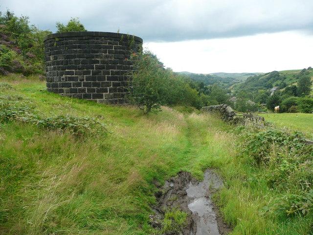 The Pennine Bridleway passing a railway tunnel air shaft, Walsden