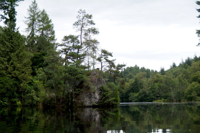 The small island in the Aigas Gorge on the River Beauly