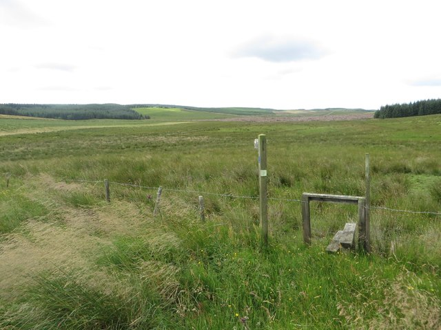 Stile and footpath across a grass field