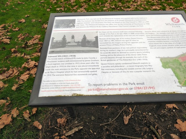 Whitworth Park Information Board