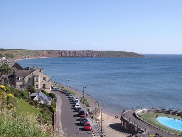 Looking north along The Beach, Filey