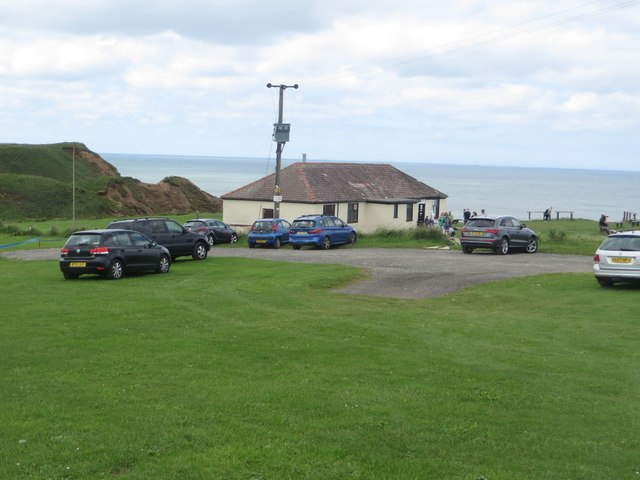 Cafe and car park at Thornwick Bay
