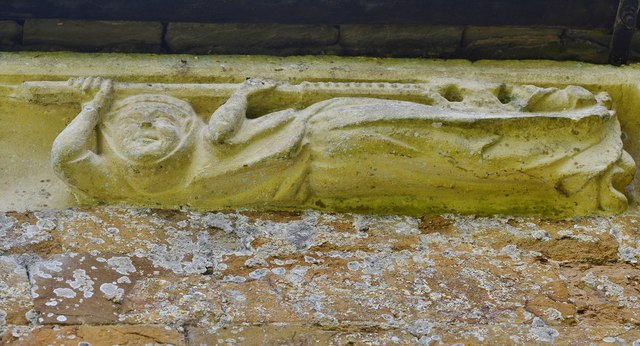 Hanwell, St. Peter's Church: North frieze, ca. 1340: Woman bearing a staff