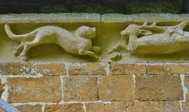 Hanwell, St. Peter's Church: South frieze, ca. 1340: Possibly a dog and a stag
