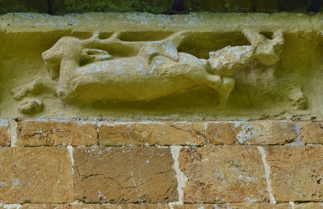 Hanwell, St. Peter's Church: South frieze, ca. 1340: A stag