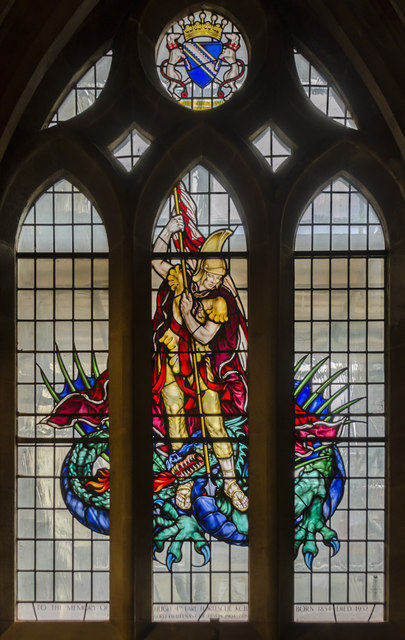 Stained glass window, St James' chapel, Exeter Cathedral