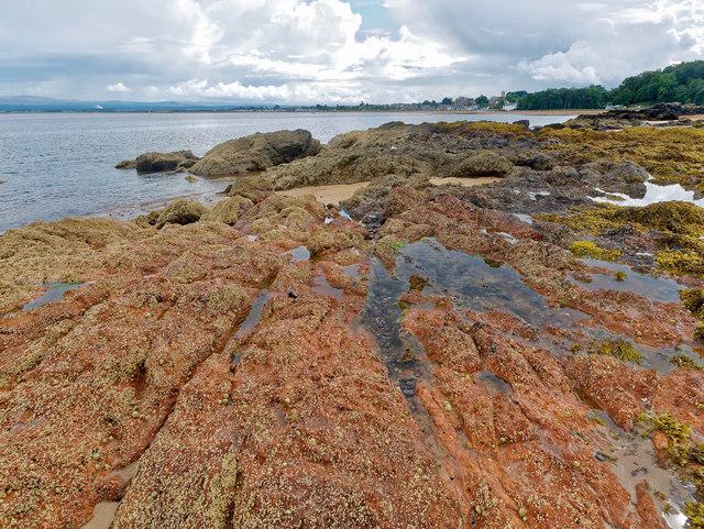 Pink rocks by Rosemarkie