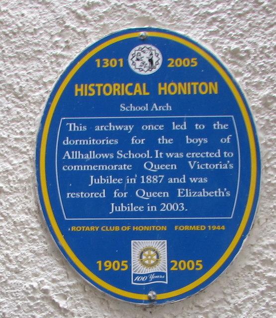 School Arch blue plaque, Honiton