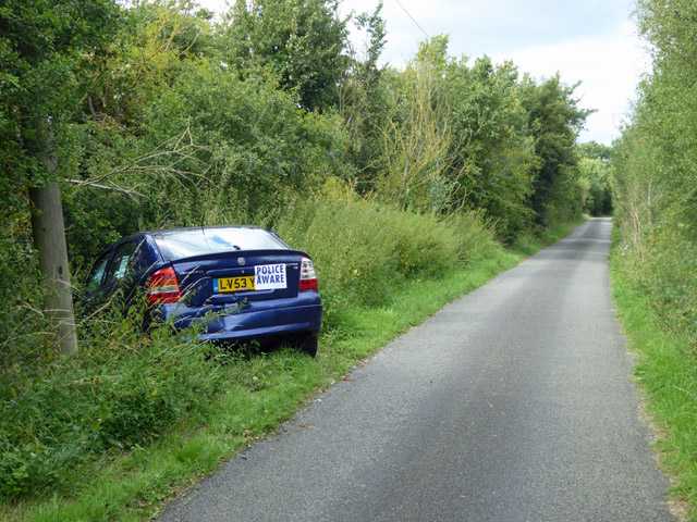Crashed car, Honeypot Lane
