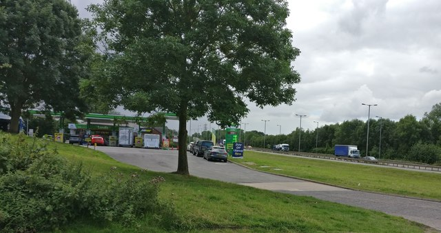 Service station along the A46 at Binley
