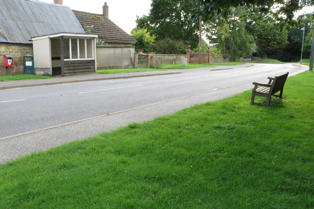 Bench and bus shelter on Balsham High Street