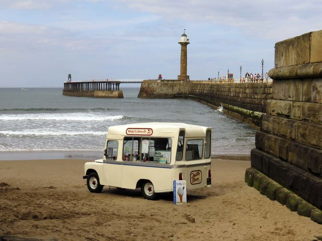 Ice cream van on the beach in Whitby