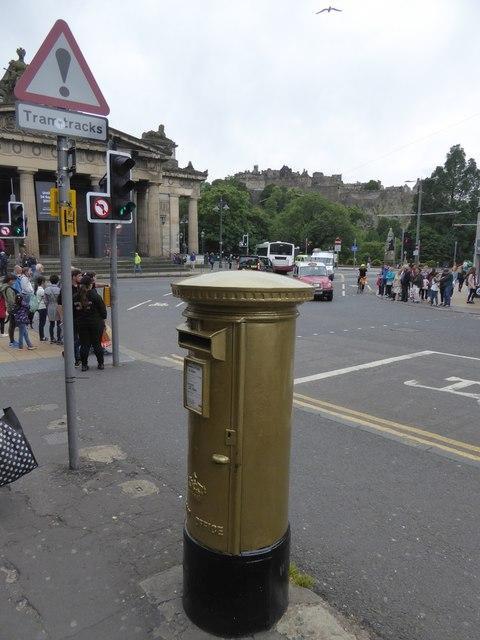Gold pillar box in Hanover Street