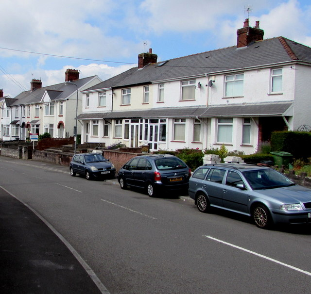 White houses, Church Road, Rumney, Cardiff