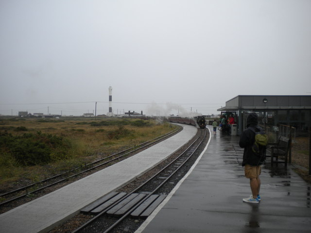 Train arriving at Dungeness station