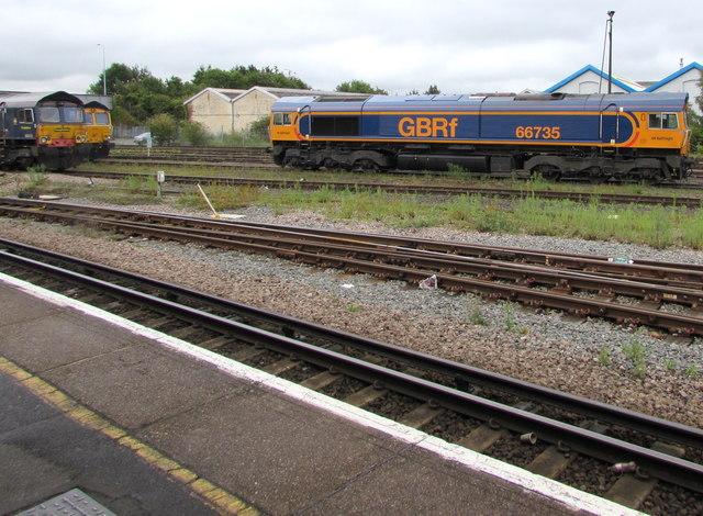 GBRf diesel locomotive 66735 in Eastleigh