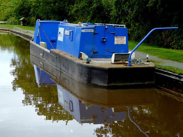 Canal maintenance boat near Ravensmoor, Cheshire
